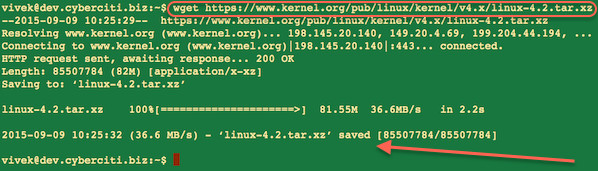 Fig.03: Use the wget to grab the latest source code from kernel.org