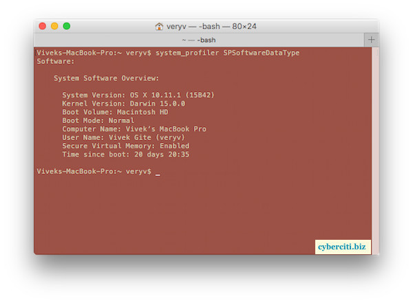 Fig.02: Tell what version of OS X you are using on from the command line