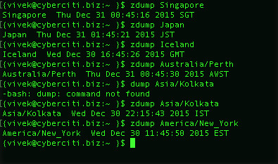 Fig.01: zdump Linux and Unix command in action