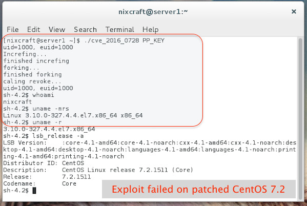 CentOS 7.2: Exploit code failed.
