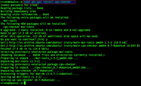 Fig.02: Installing cpu-checker on Ubuntu Linux