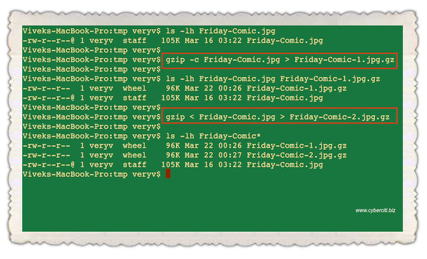 Fig.01: Tell gzip command to keep original file on Unix or Linux system