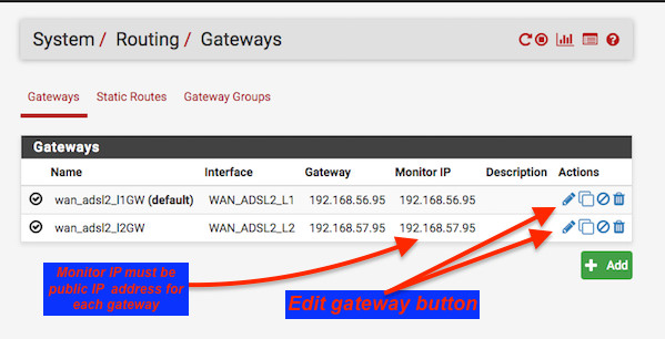 Fig.05: Ensure a gateway entry exists for each WAN interface