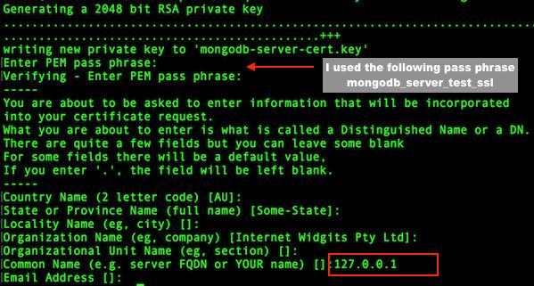 Fig.03: MongoDB SSL setup server certificate
