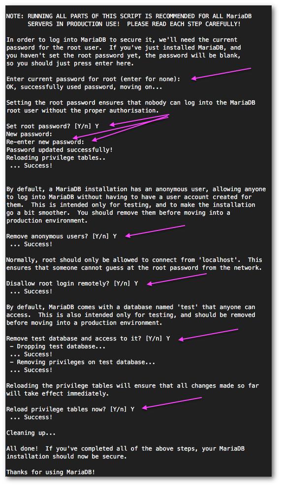 Fig.02:  Secure the MariaDB installation