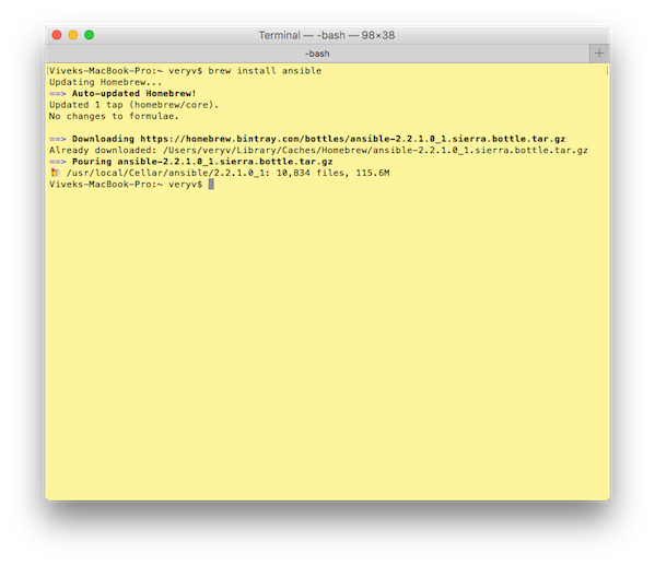 Fig. 01: Use brew to install ansible on MacOS X