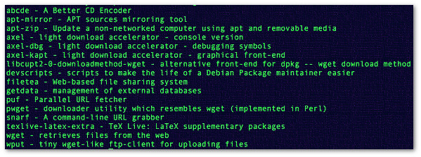 Fig.01: apt-cache search command search performs a full text search on all available package lists