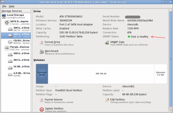 Linux 500 GB Hard Disk (ATA ST9500420ASG) [-dev-sdb] — Disk Utility