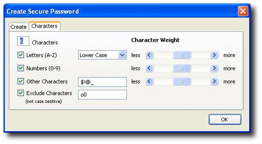 Fig.03: Secure Password Generator – Characters Tab