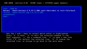 Fig.04: Booting into a single user mode using Grub