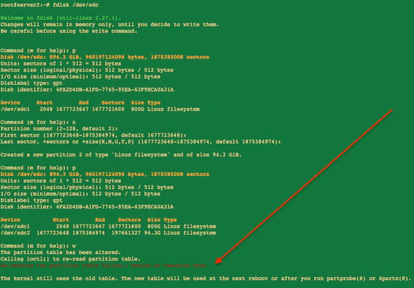fdisk command in action