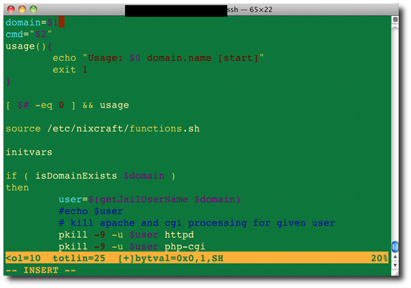 Fig.01: Bash shell script syntax highlighting using vim text editor