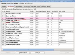 Fig.06: GSmartControl displaying hard disk attribution information