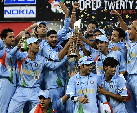 Mahendra Singh Dhoni's young Indian team snatched the inaugural Twenty20 world title after defeating archrivals Pakistan by five runs in a thrilling final on Monday.