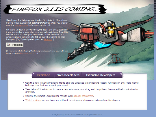 Firefox 3.1 Beta 2 Welcome Screen