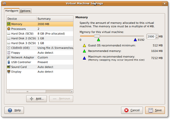 Fig.01: Vmware Virtual Machine Settings
