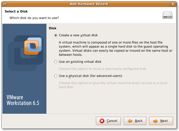 Fig.03 VMware Adding a new disk wizard