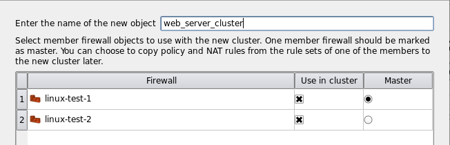 Figure 12. Choosing the name for the new cluster object