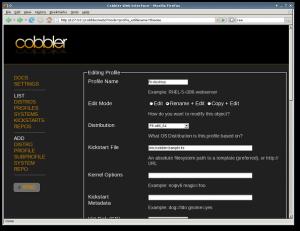 Fig.02: Cobbler WebUI (image credit: Fedora project)
