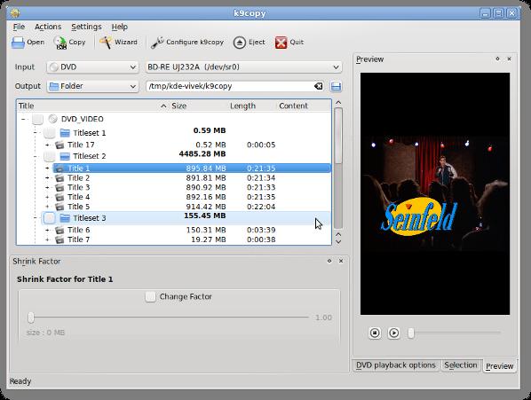 Fig.05: k9copy - Linux dvd shrink in action