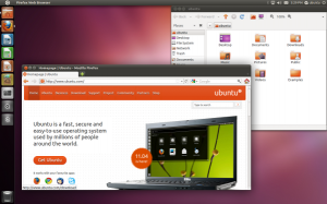 Fig.01: Default Ubuntu Linux 11.04 Desktop with Unity Graphical Interface