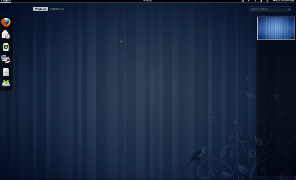 Gnome 3 Desktop / Shell Default Login View
