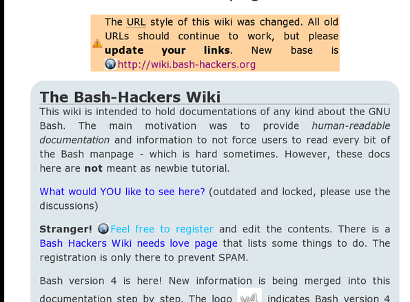 Bash hackers wiki for bash users