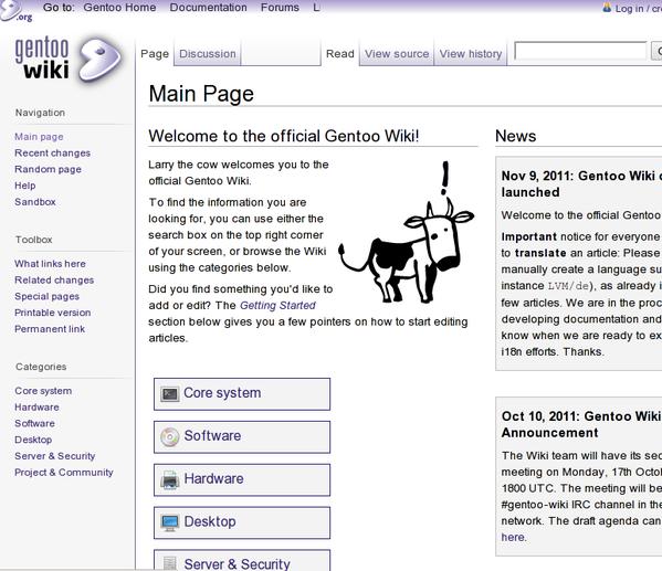 Gentoo Linux Handbook and Wiki