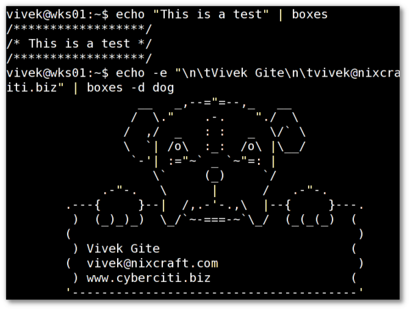 Unix / Linux: Boxes Command To Draw Various Designs
